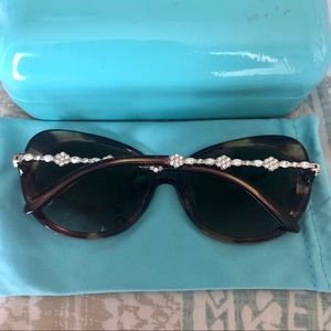 Tiffany & Co Brown Crystal CZ Diamond Sunglasses